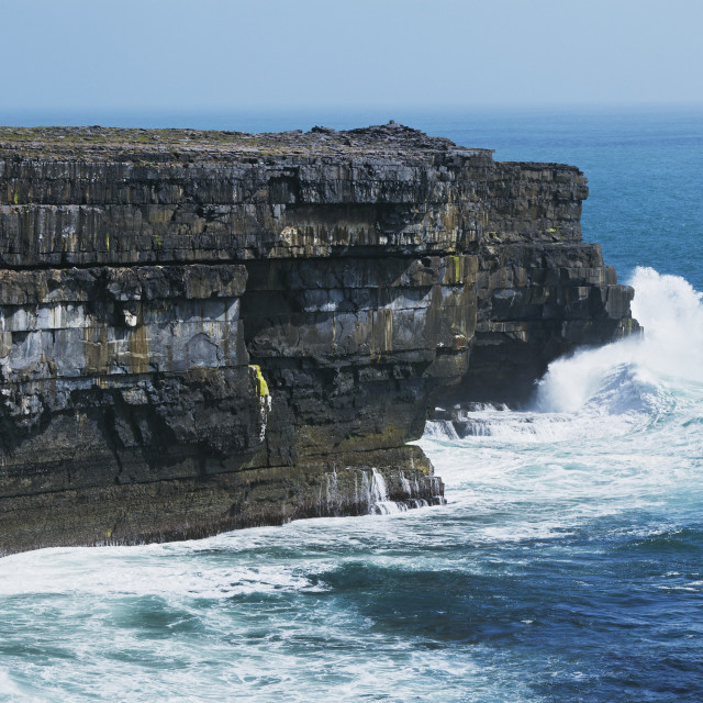 """Waves Crashing Into The Cliffs On The North Coast On Inishmore, Aran Islands;..."" stock image"