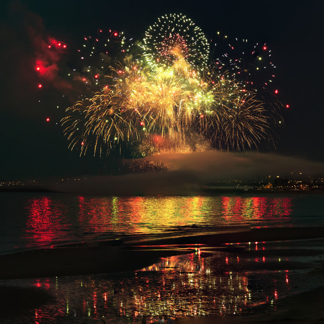 """Colourful Fireworks Display Reflected On The Water; Sunderland, Tyne And..."" stock image"