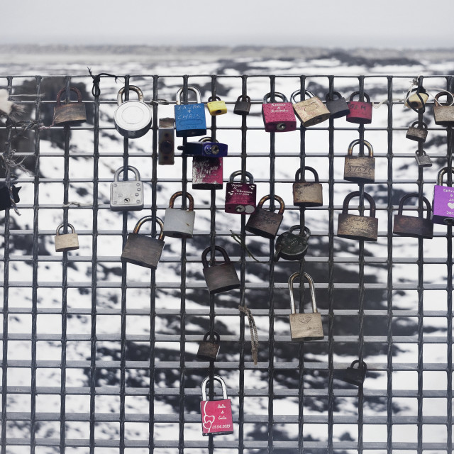 """""""Locks Placed On A Chain Link Fence On Leif The Lucky Bridge; Reykjanes..."""" stock image"""