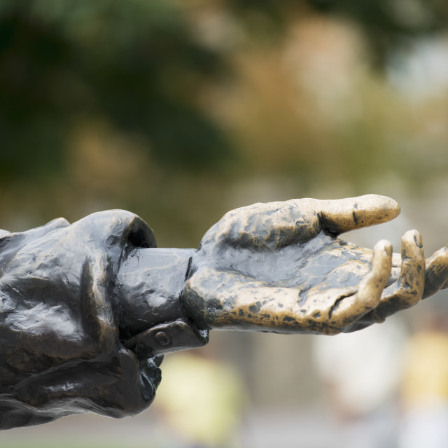 """""""Hand On A Statue Reaching Out; Ottawa, Ontario, Canada"""" stock image"""