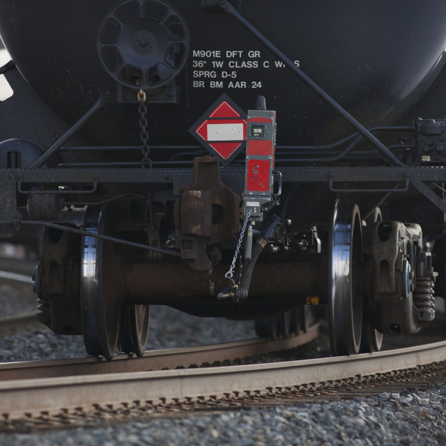 """""""End Of Train Device Attached To A Tank Car On The Rear Of A Freight Train;..."""" stock image"""