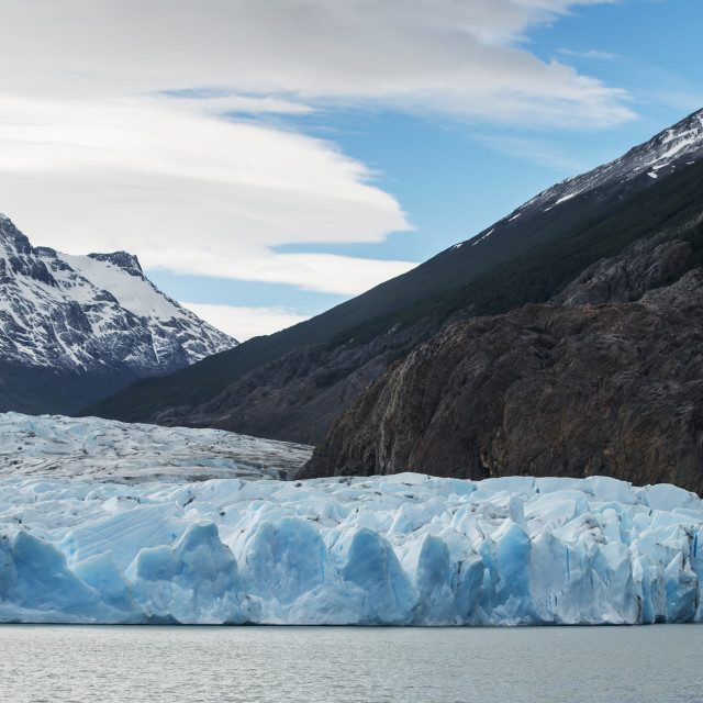 """""""Grey Lake And Grey Glacier, Torres Del Paine National Park; Torres Del Paine,..."""" stock image"""
