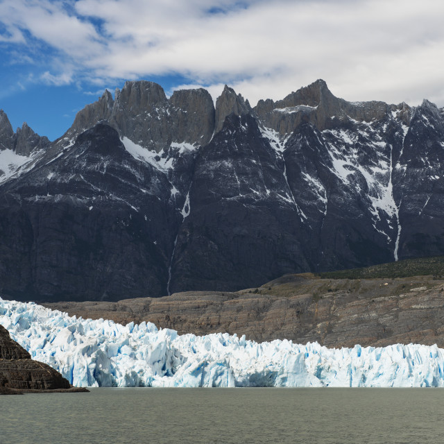 """""""Grey Glacier And Grey Lake, Torres Del Paine National Park; Torres Del Paine,..."""" stock image"""