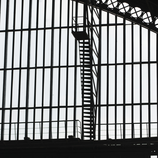 """""""Silhouette Of Steel Beams On The Framework Of Centro Cultural Estaci"""" stock image"""