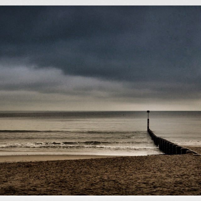 """Groyne on the beach"" stock image"