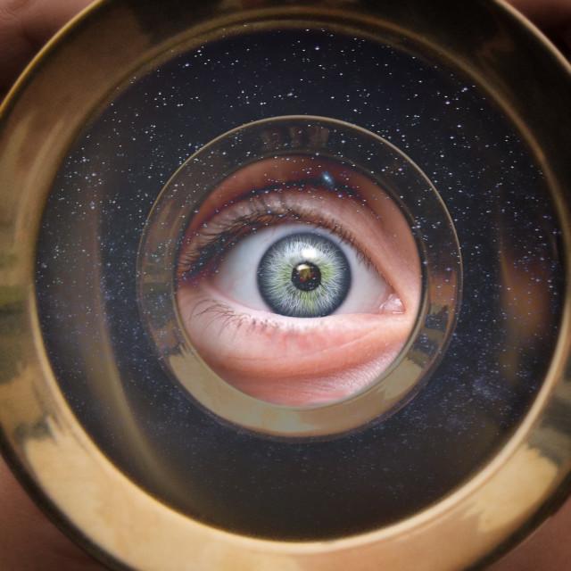 """Eye to the Telescope"" stock image"