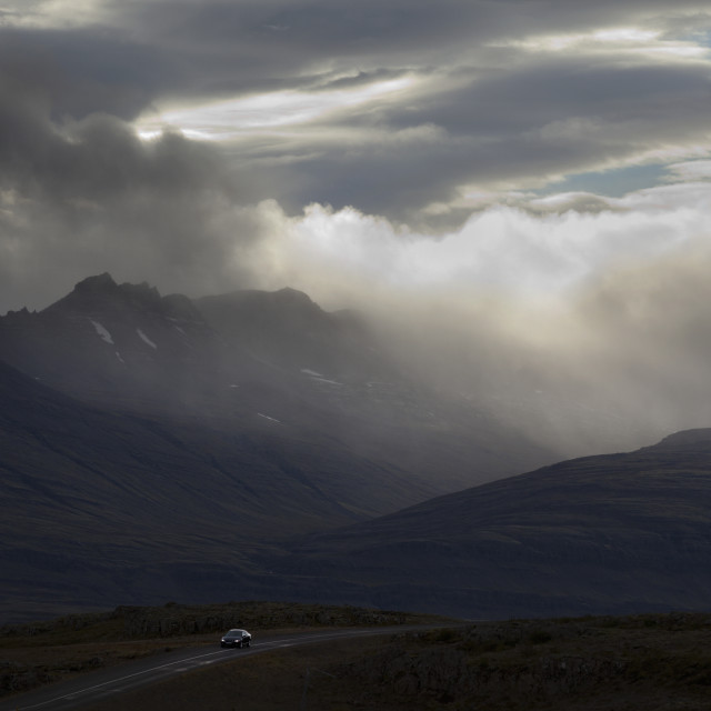 """""""Car Driving On The Number 1 Icelandic On The Southeast Section Of Iceland..."""" stock image"""
