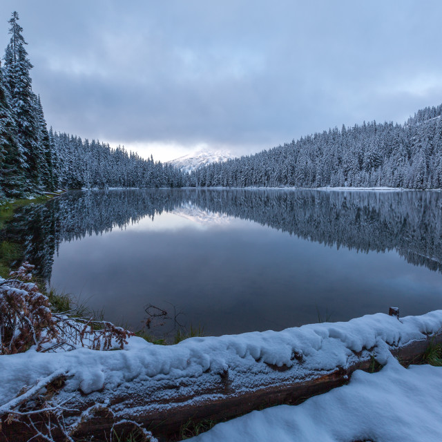 """Snowy Lake Sunrise"" stock image"