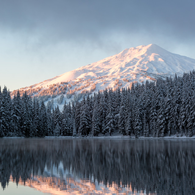 """Mount Bachelor Sunrise at Todd Lake"" stock image"