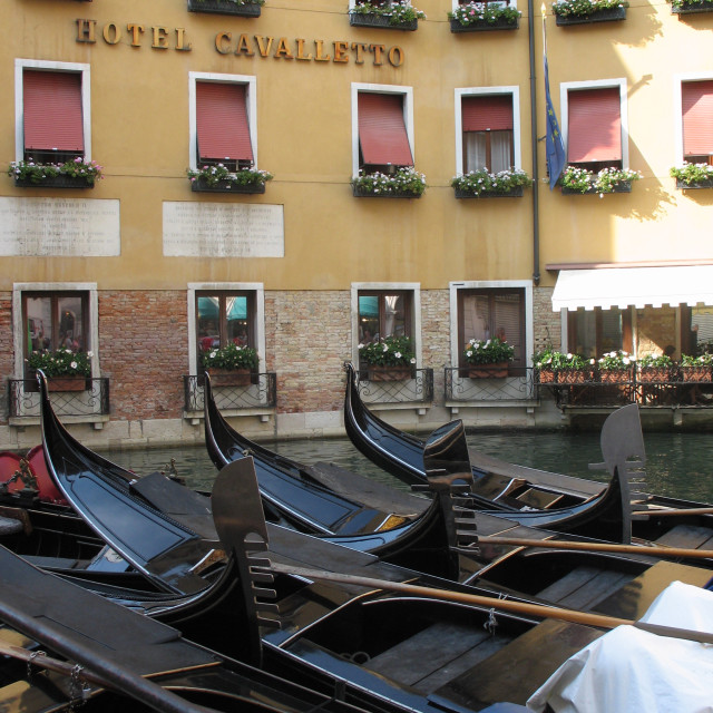 """Gondolas in Venice"" stock image"