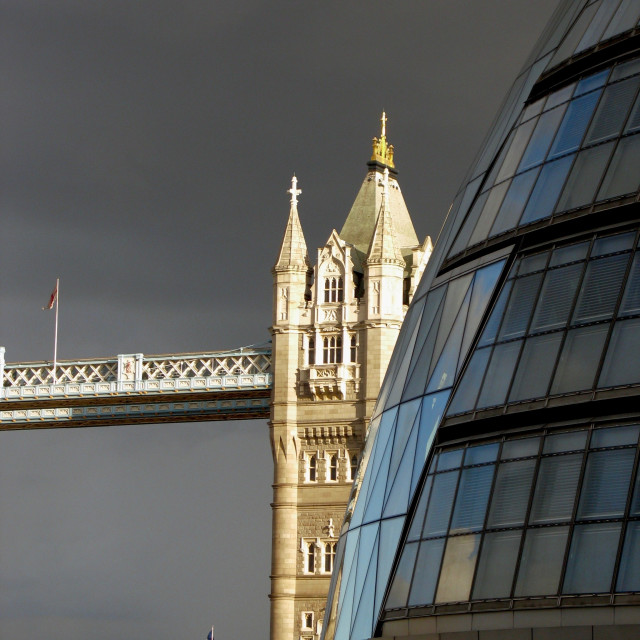 """Tower Bridge and City Hall, London"" stock image"