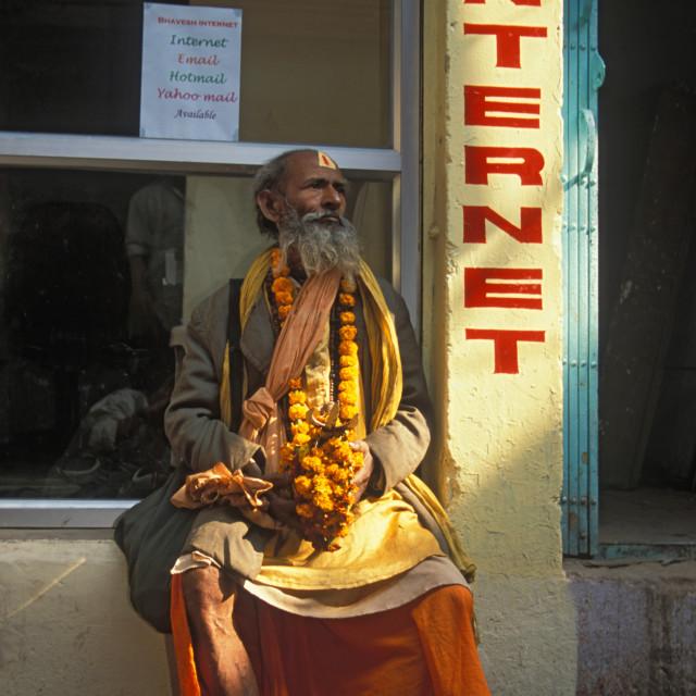 """""""Sadhu at the Internet, Varanasi.India"""" stock image"""