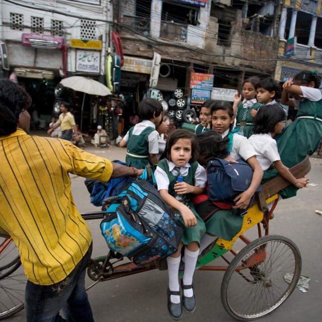 """School children on Rickshaw, Old Delhi_G3T7391"" stock image"