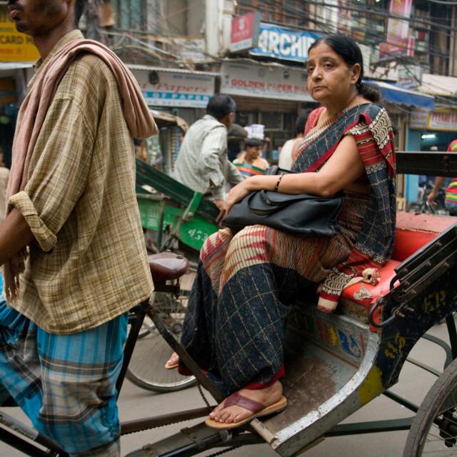 """Woman in Rickshaw, Old Delhi_G3T7370"" stock image"