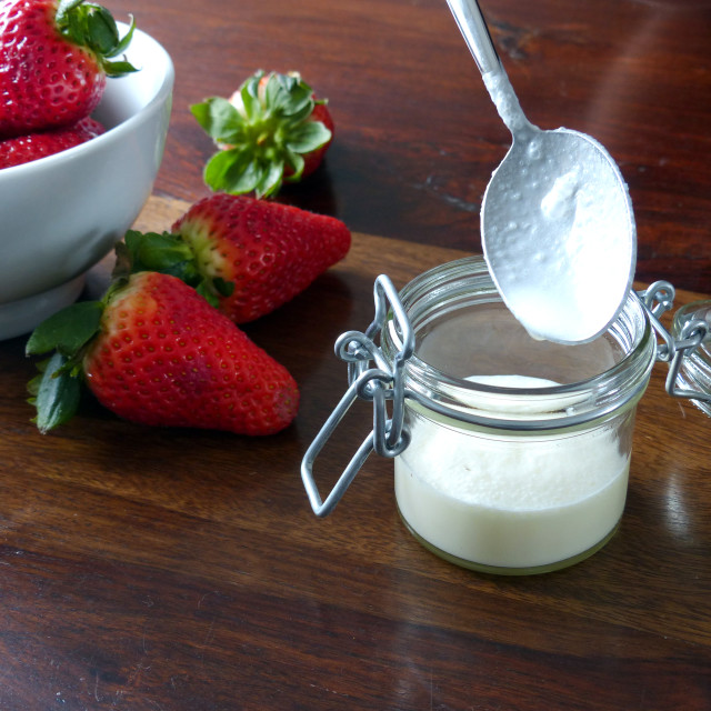 """""""Fill the jar with Panna Cotta"""" stock image"""