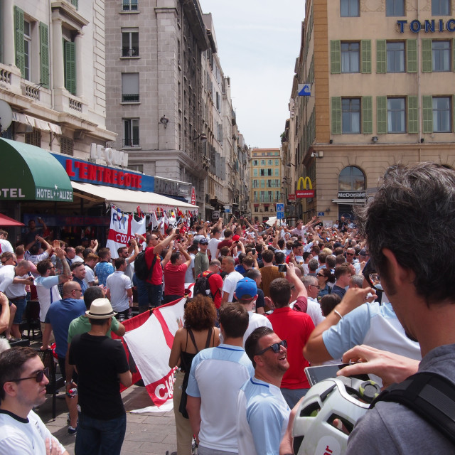 """""""England fans in Marseille"""" stock image"""