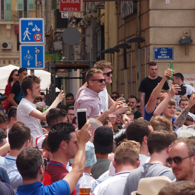 """England fans in Marseille"" stock image"