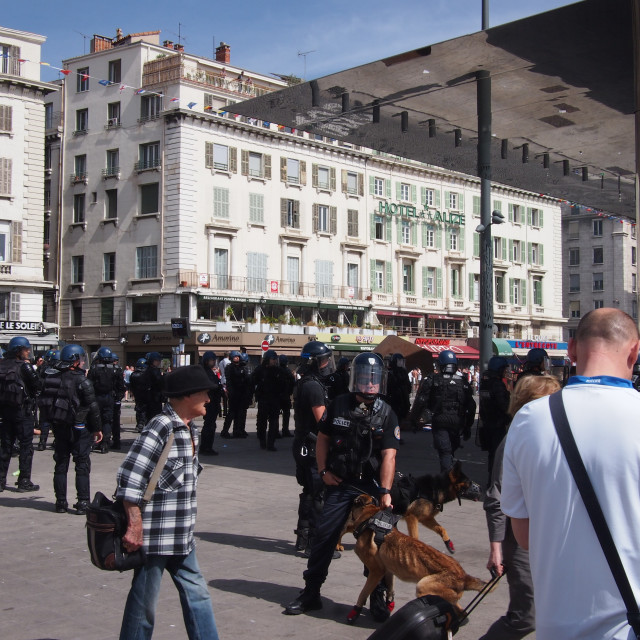 """""""Police and English fans in Marseille"""" stock image"""