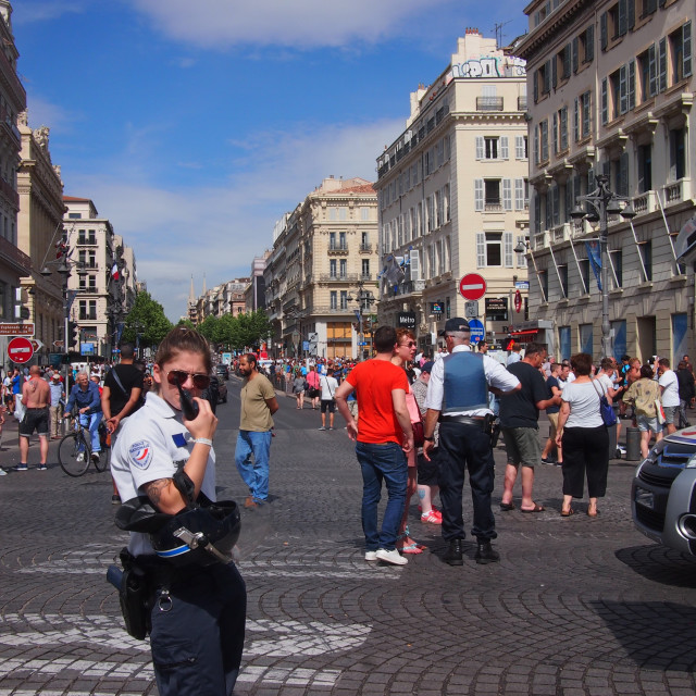"""Police and English fans in Marseille"" stock image"