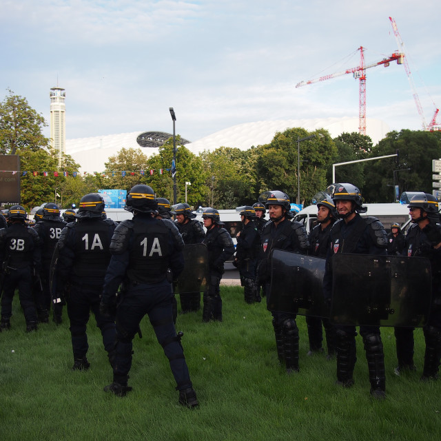 """""""Riot police in Marseille"""" stock image"""