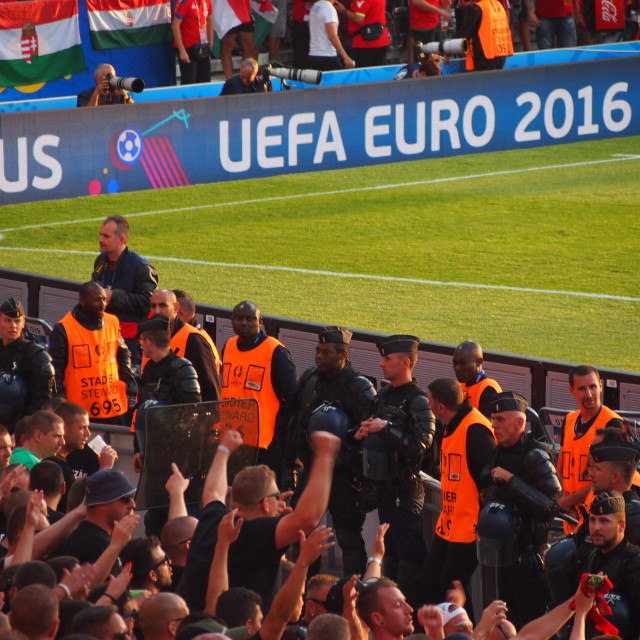 """Hungary fans cheer their team"" stock image"