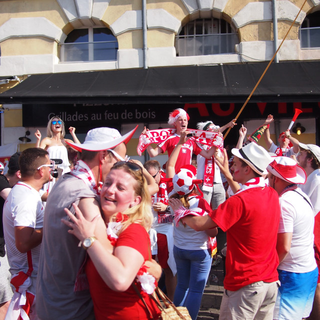 """""""Poland fans marching"""" stock image"""