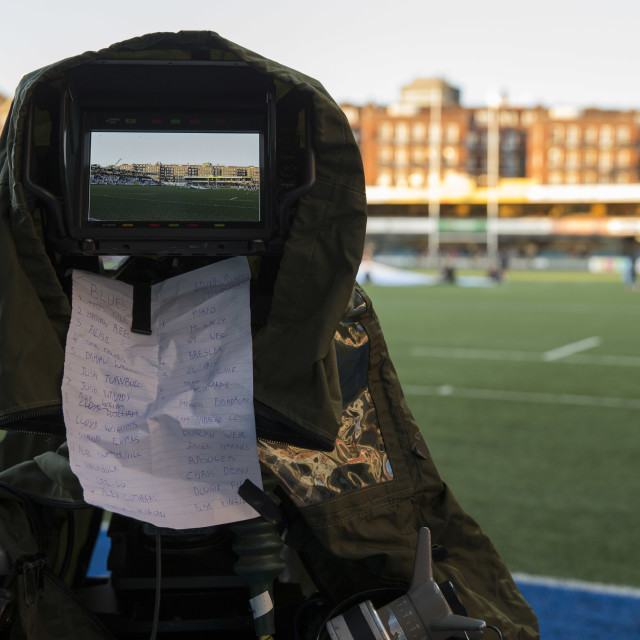 """Rugby match television camera"" stock image"