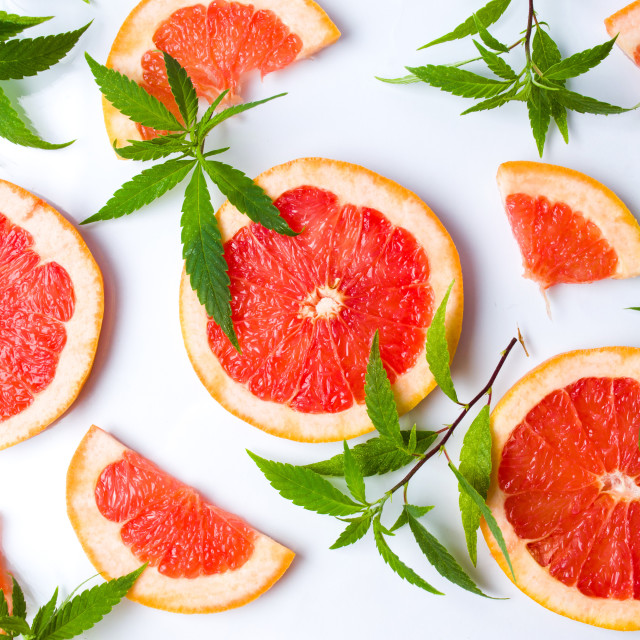 """Grapefruit slices and marijuana leaves"" stock image"