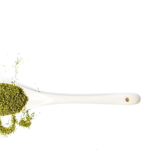 """Marijuana powder of dried cannabis leafs in a spoon"" stock image"
