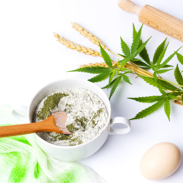 """""""Marijuana and wheat mixed flour for making pastry"""" stock image"""