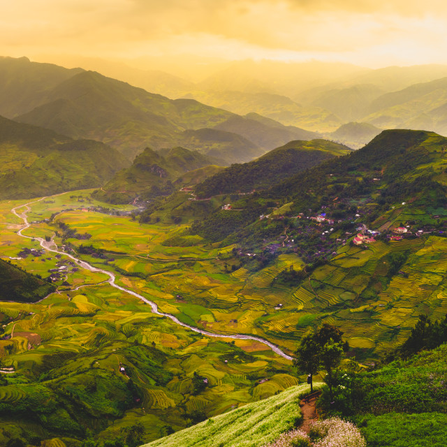 """The Khau Pha Pass in Mu Cang Chai, Yen Bai, Vietnam"" stock image"