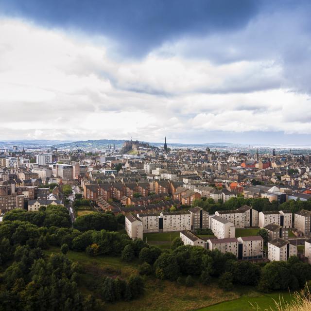 """Panoramic view of the city of Edinburgh in Scotland, United Kingdom."" stock image"