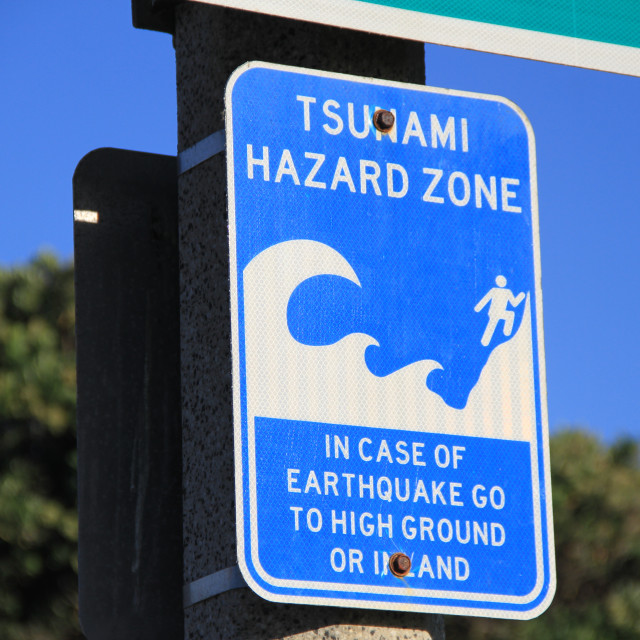 """Tsunami Hazard Zone"" stock image"