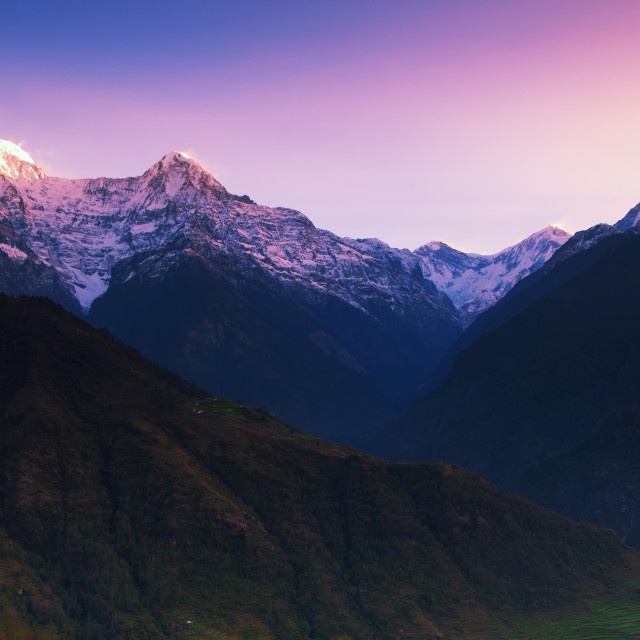 """Dramatic sunrise over Annapurna mountain range seen from Ghandruk Village in Kaski District in the Gandaki Zone of northern-central Nepal."" stock image"