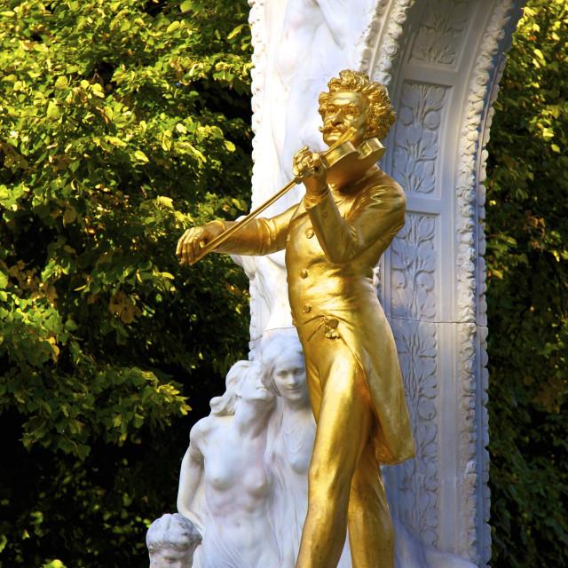 """Statue of Johann Strauss, Stadtpark, Vienna, Austria, Europe"" stock image"