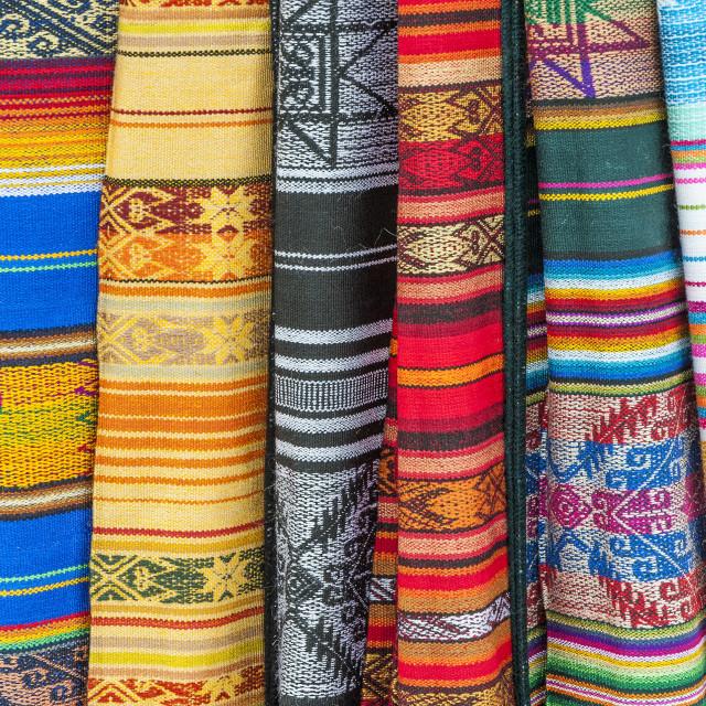 """Otavalo market, Traditional colourful textiles, Imbabura Province, Ecuador"" stock image"