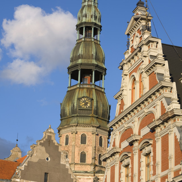 """""""St. Peter's Church and the Brotherhood of Blackheads House, Old Town, UNESCO..."""" stock image"""