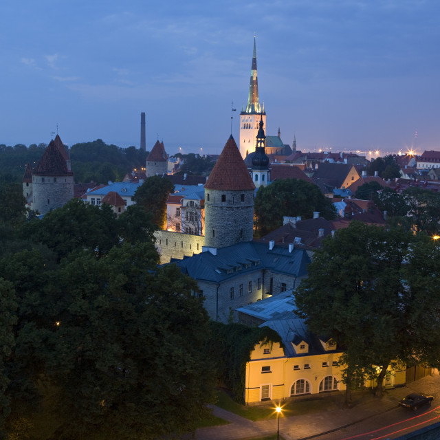 """""""Elevated view of lower Old Town with Oleviste Church in the background,..."""" stock image"""