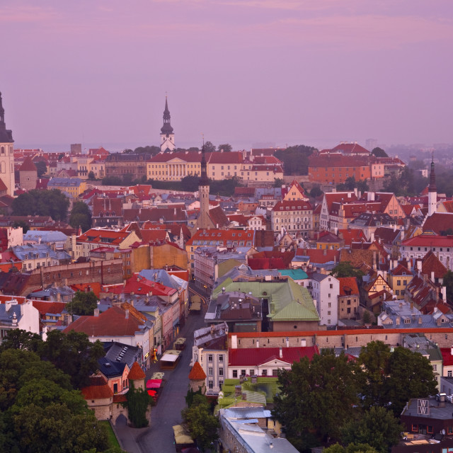 """Elevated view over Old Town at dawn, Tallinn, Estonia, Europe"" stock image"