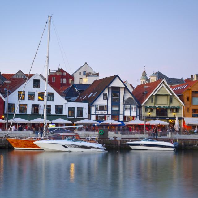 """""""Stavanger's picturesque harbor illuminated at dusk, Stavanger, Rogaland,..."""" stock image"""