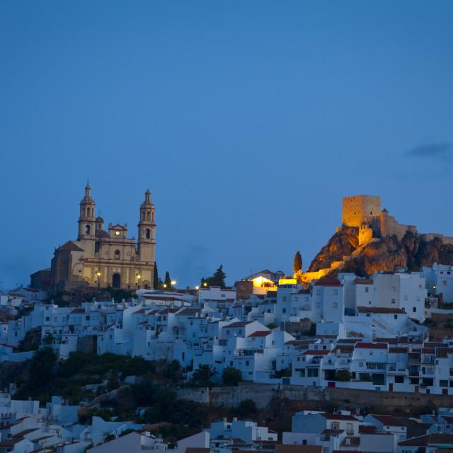 """The hilltop village of Olvera illuminated at dawn, Olvera, Cadiz Province,..."" stock image"
