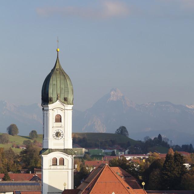 """St Andreas Chruch, Nesselwang, Ostallgau, Allgau. Allgau Alps, Bavaria, Germany"" stock image"