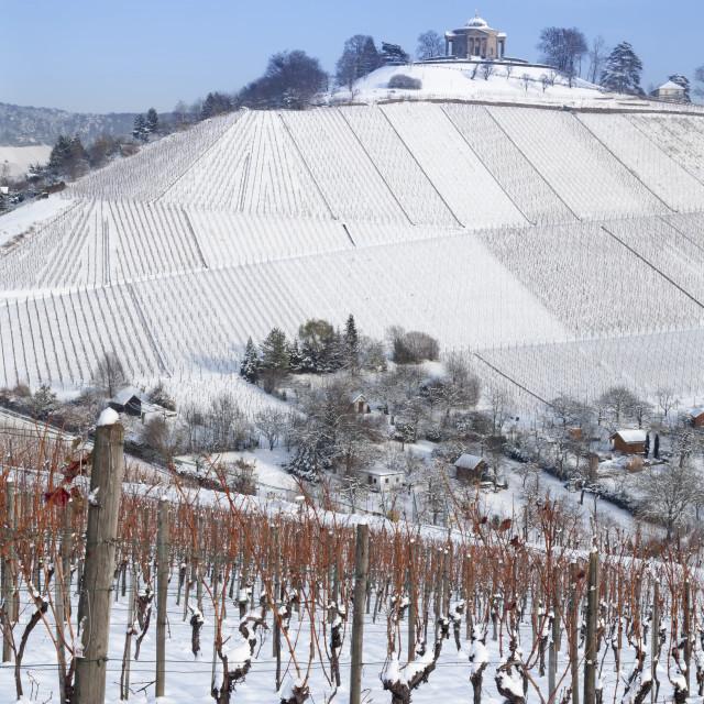 """Wurttemberg Mausoleum in the vineyards in winter, Stuttgart-Rotenberg, Baden..."" stock image"