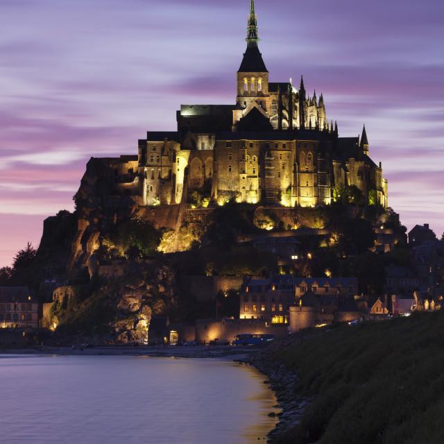 """Mont Saint Michel at sunset, UNESCO World Heritage Site, Department Manche,..."" stock image"