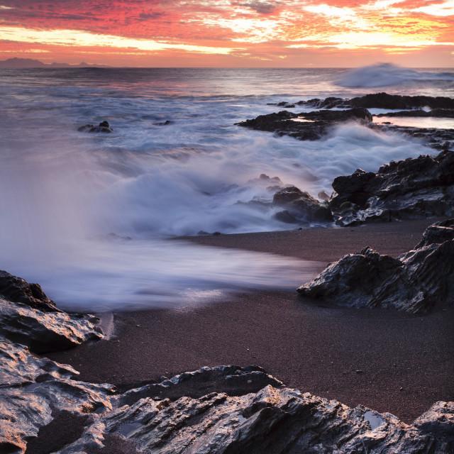 """""""Sunset at the beach Puerto de la Pena Ajuy, Fuerteventura, Canary Islands,..."""" stock image"""