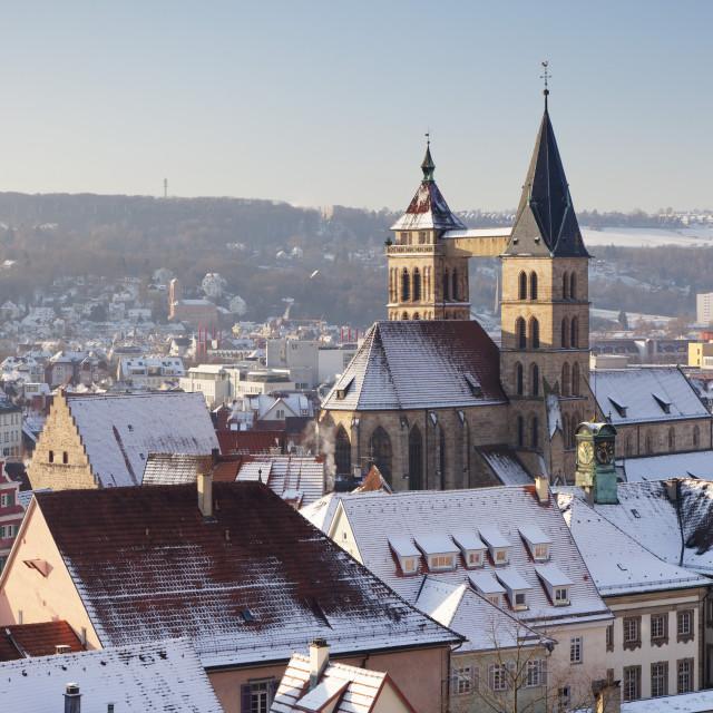 """Esslinger Altstadt in winter, Esslingen am Neckar, Baden Wurttemberg,..."" stock image"