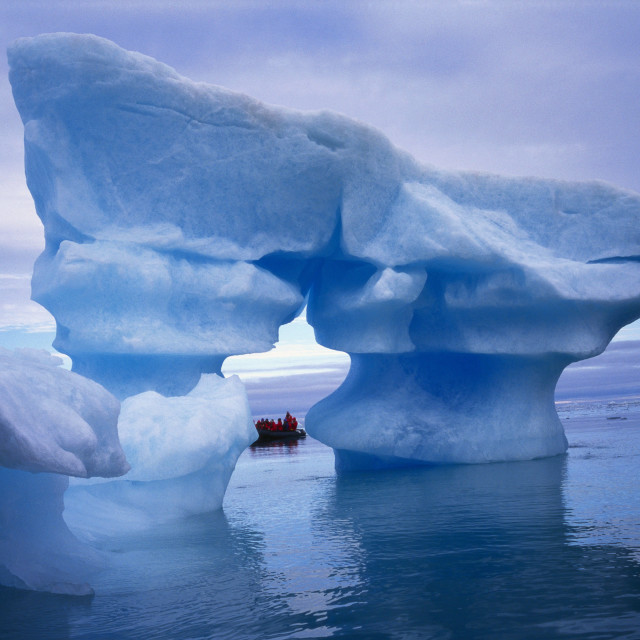 """Sculpted Iceberg, Spitsbergen, Svalbard Archipelago, Norway, Scandinavia, Europe"" stock image"