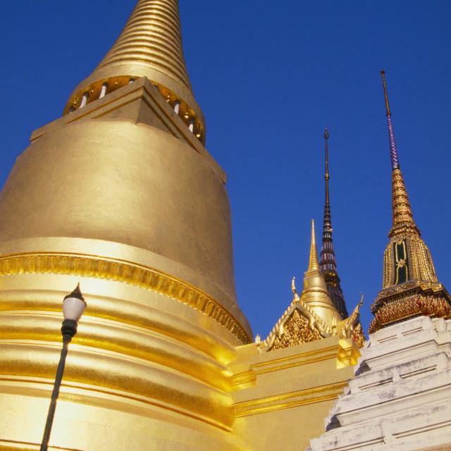 """""""Golden Stupas at Wat Phra Kao, Bangkok, Thailand"""" stock image"""