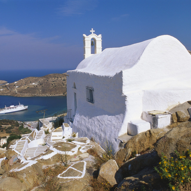 """Church by Ormos Harbour, Ios Island, Cyclades, Greece"" stock image"