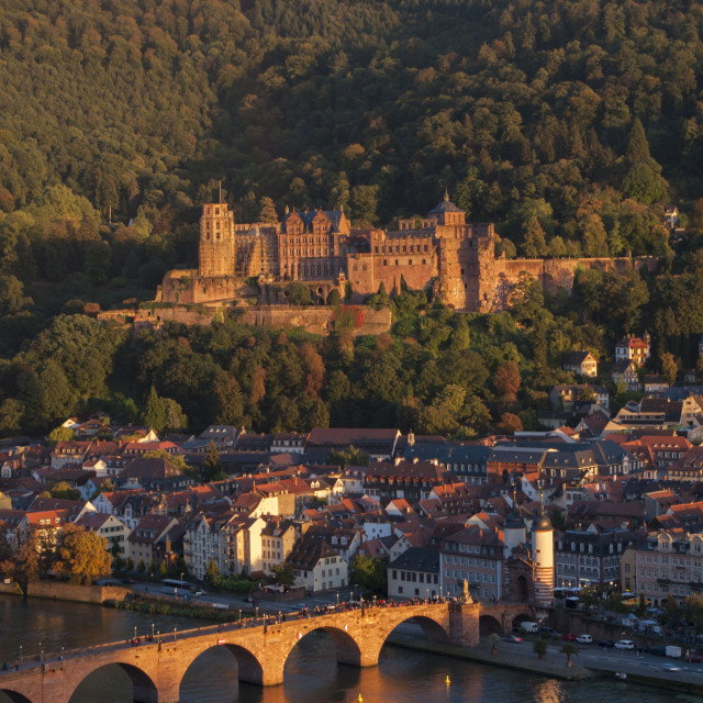 """Alte Brücke over River Neckar at Heidelberg"" stock image"